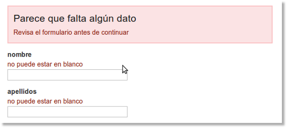 ejemplo de errores en campos de formulario